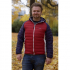 Ultra Light Down Jacket w/hood, Red/Navy/White