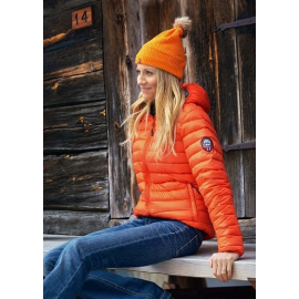 Ultra Light Down Jacket w/hood, Lady, Orange