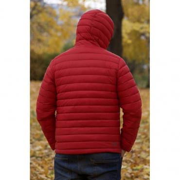 Ultra Light Down Jacket w/hood, Red/Navy