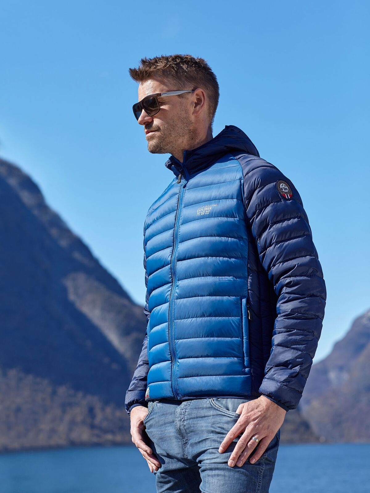 Ultra Light Down Jacket Blue Bicolor Unisex Scandinavian Explorer