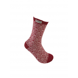 Red Socks with norwegian pattern