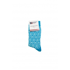 Turquoise Socks with Norwegian pattern