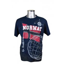 T-Shirt with Norway Flag Navy