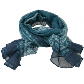 Marius Scarf in Petrol/Blue/White
