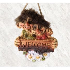 840202 Troll couple welcome sign