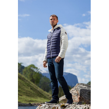 Ultra Light Down Jacket Unisex White/Navy
