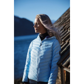 Ultra Light Down Jacket w/hood, Lady, LightBlue/Navy