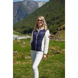 Ultralett Dunjakke Dame Marineblå/Hvit